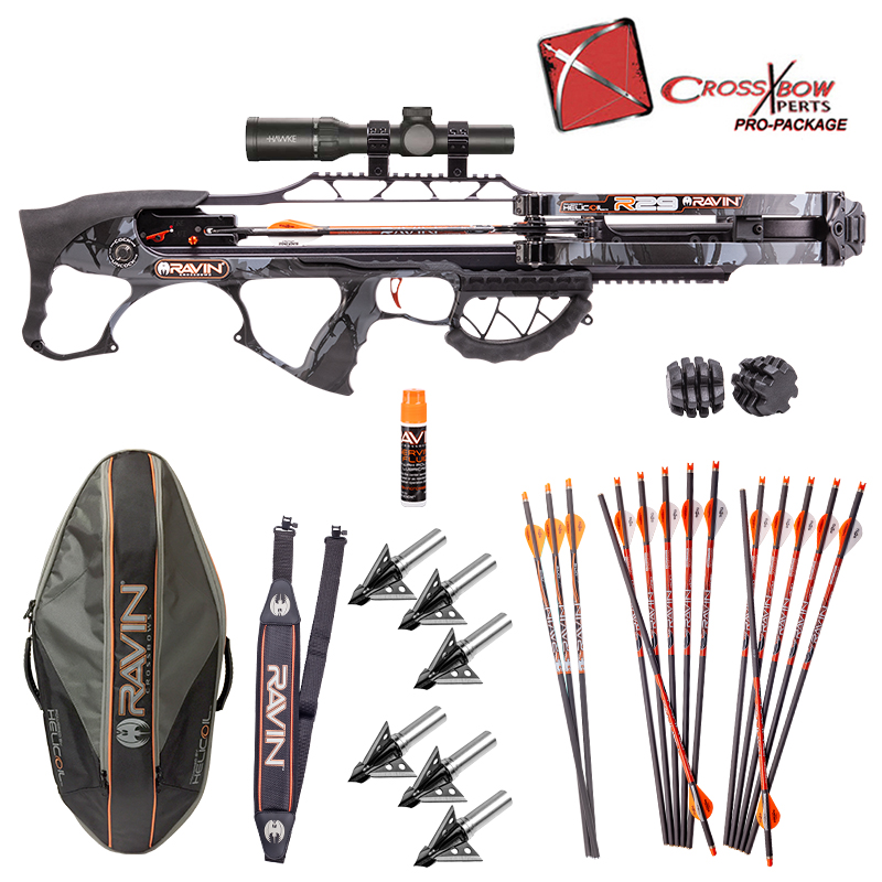 "Ravin R29 Pro Crossbow Package with Ravin R29 Soft Case and Rocket Ultimate Steel 100gr 1"" Fixed Blade Broadheads"