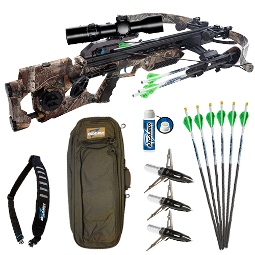 "Illuminated Proflight Arrows, NAP Killzone 2"", 2 Blade, 100gr. Mechanical Broadheads, Explore Case, Hawke XB30 and the Assassin 420 in Realtree Edge Camo!"