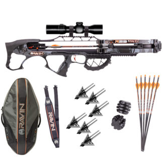 Ravin R29 with Ravin Soft Case, Ravin Sling, Ravin .003 Illuminated Crossbow Arrows, Ravin Vibration Dampeners, and Broadheads!