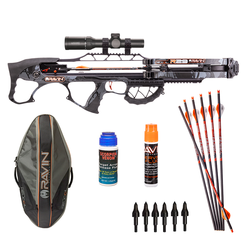 Ravin R29 Shooter package with Ravin Arrows, Ravin String Fluid, Scorpion Venom Arrow Release Fluid, and Ravin Soft Case