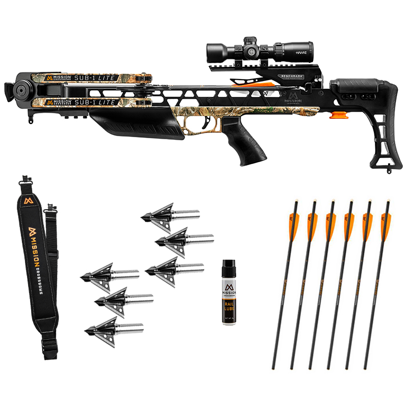 Mission Sub 1 Lite crossbow hunter package with illuminated arrows and broadheads, in stock with free shipping from the Crossbow Experts.