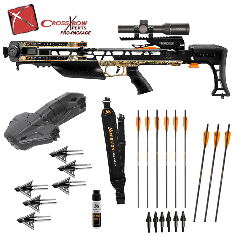 Mission Sub 1 Lite full assembly platinum package with illuminated arrows and broadheads, in stock with free shipping from the Crossbow Experts.