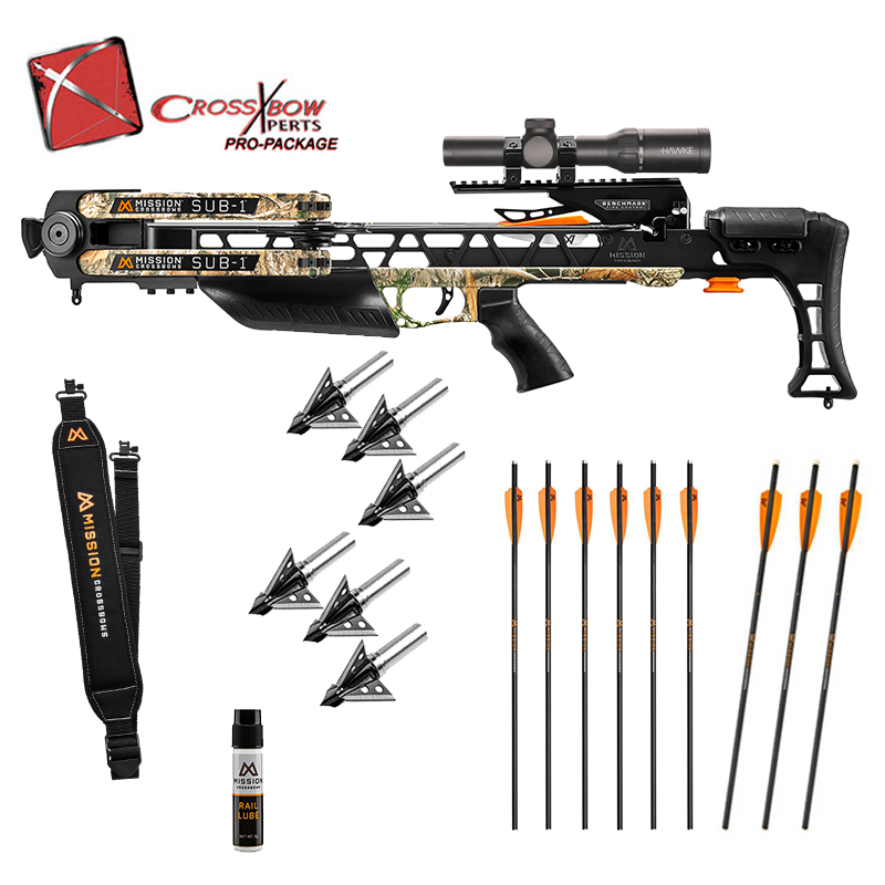Mission Sub 1 Crossbow Pro Package in stock and free shipping from the Crossbow Experts. Extra arrows, broadheads and more Mission Accessories.