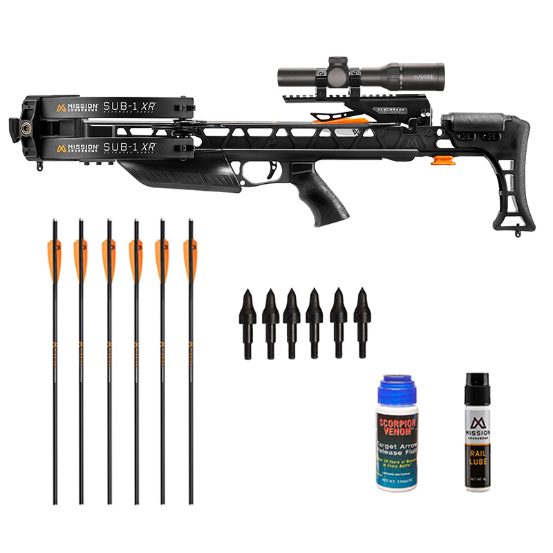 Mission Sub 1 XR Crossbow Shooter package with extra arrows, Mission Lube, String Wax and extra field tips for the frequent shooter.