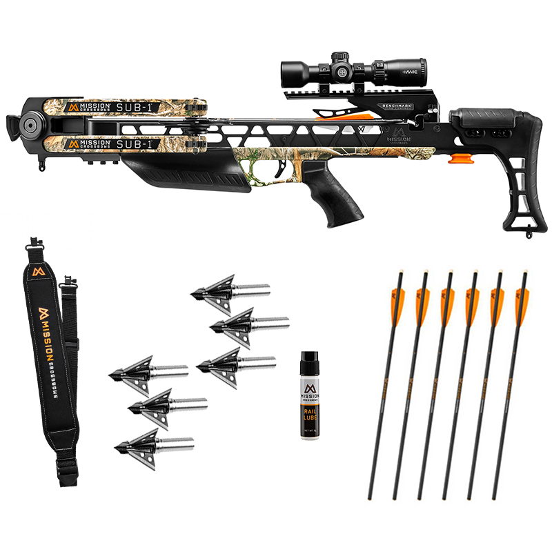 Mission Sub 1 Crossbow Hunter Package in stock and free shipping from the Crossbow Experts. Extra arrows, broadheads and more Mission Accessories.